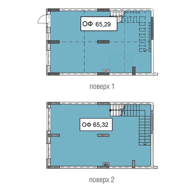 Секція 3 двоповерхове приміщення 65,29 кв м