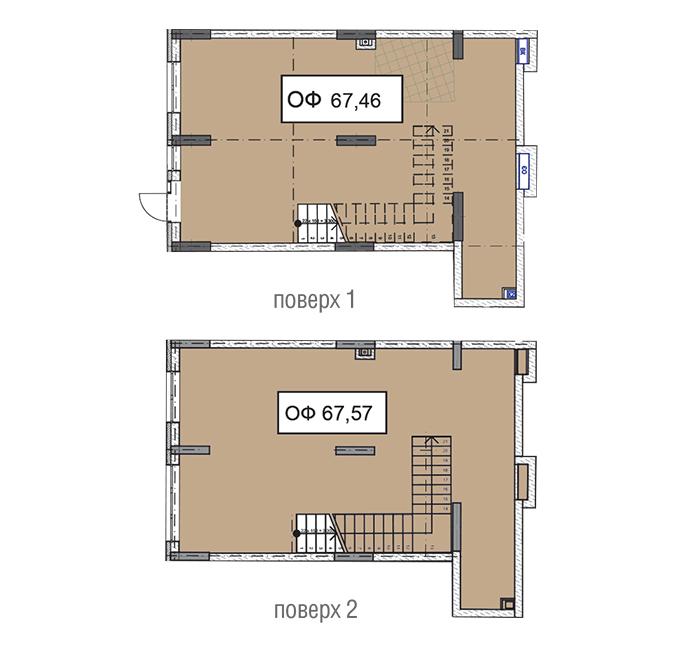 Секція 3 двоповерхове приміщення 67,46 кв м