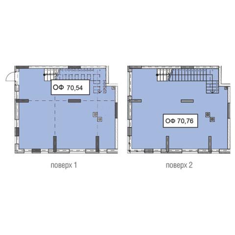 Секція 3 двоповерхове приміщення 70,54 кв м