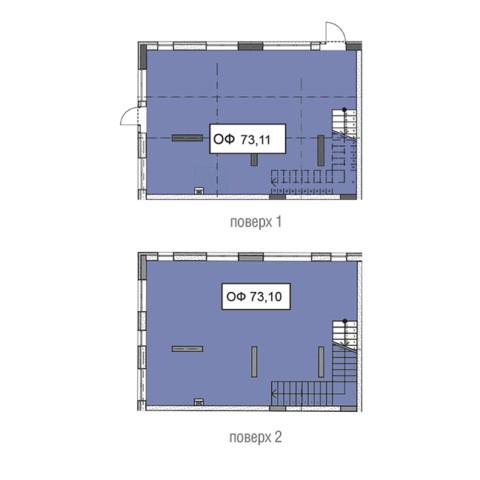 Секція 3 двоповерхове приміщення 73,11 кв м