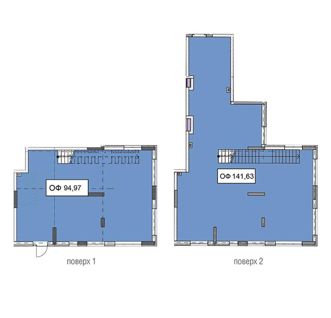 Секція 3 двоповерхове приміщення 94,97 кв м