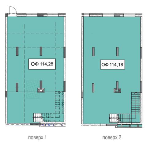 Секція 3 двоповерхове приміщення 114,28 кв м