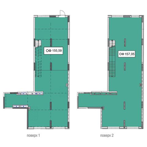 Секція 3 двоповерхове приміщення 155,59 кв м