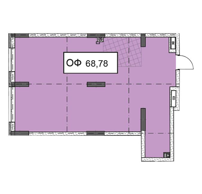 Секция 3 помещение 68,78 кв м