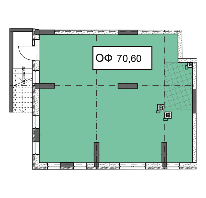 Секція 3 приміщення 70,60 кв м