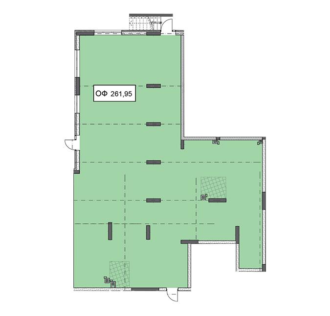 Секція 2 приміщення 261,95 кв м