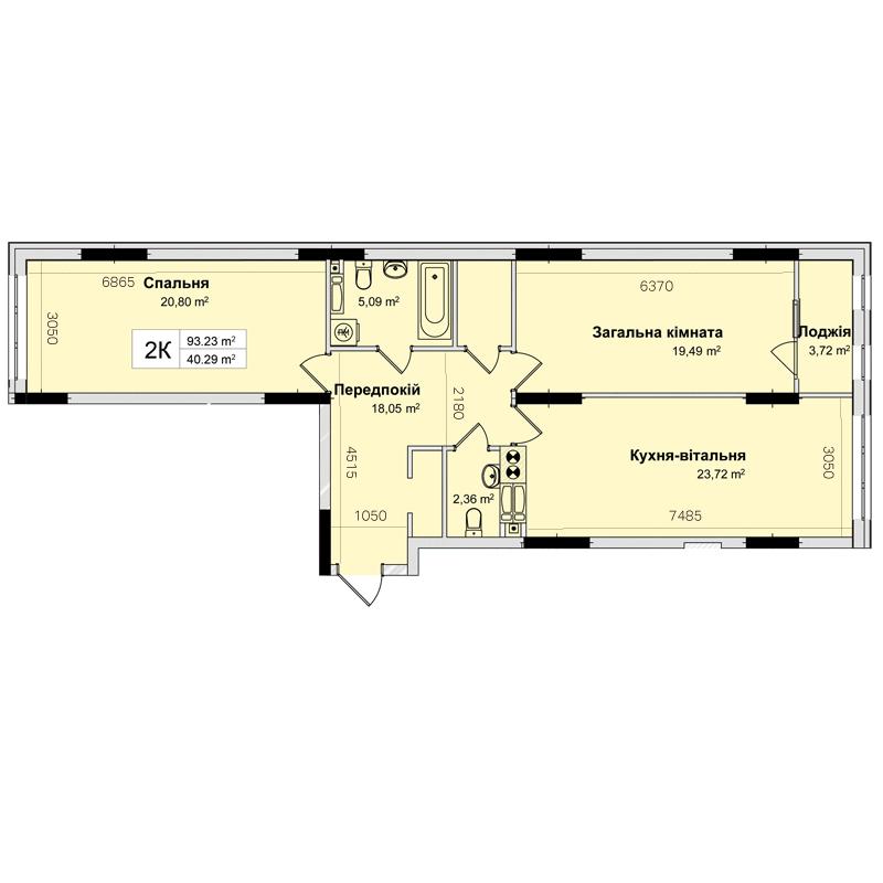 Секція 3 двокімнатна квартира 93,23 м²