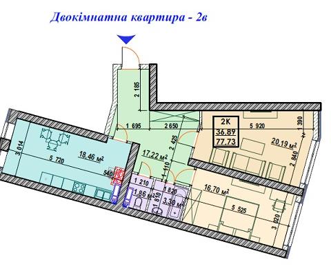 Секция 4 двухкомнатная квартира (2В) 77,73 м²