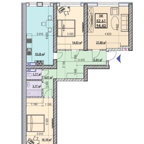 Секция 1 трехкомнатная квартира (3Б) 94,43 м²