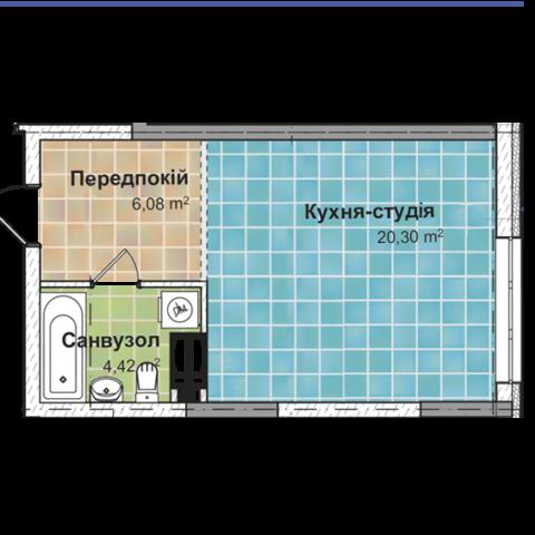 Секция 2 Однокомнатная квартира (1Б) 30,43 м²