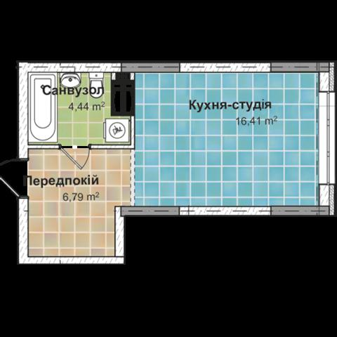 Секция 2 Однокомнатная квартира (1В) 27,25 м²