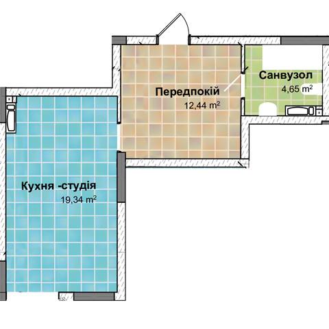 Секция 2 Однокомнатная квартира (1Ж) 36,43 м²