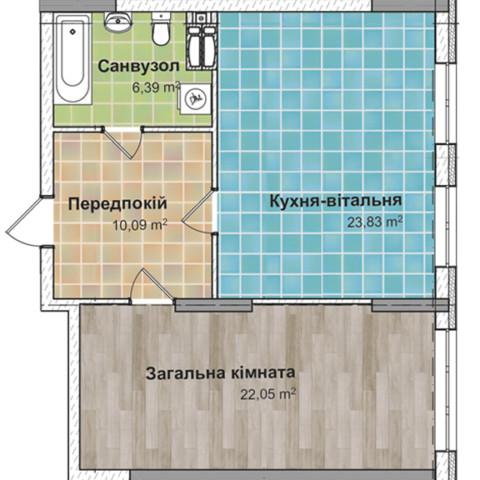 Секция 2 Однокомнатная квартира (1А) 62,36 м²