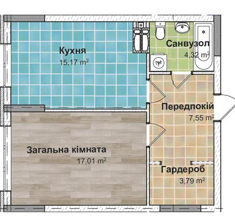 Секция 2 Однокомнатная квартира (1Е) 47,37 м²