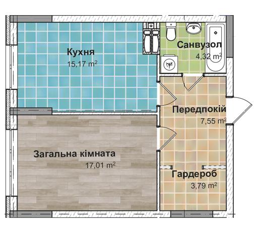 Секція 2 Однокімнатна квартира (1Е) 47,37 м²