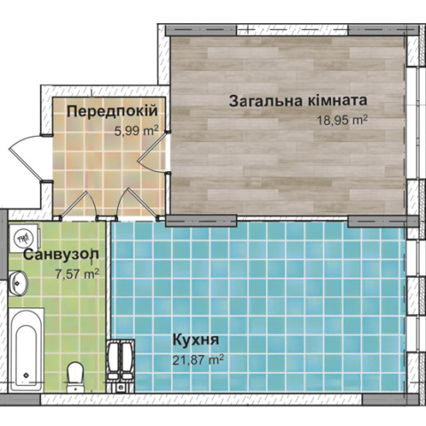 Секция 2 Однокомнатная квартира (1Г) 54,32 м²