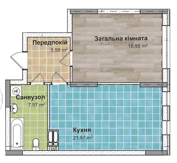 Секція 2 Однокімнатна квартира (1Г) 54,32 м²