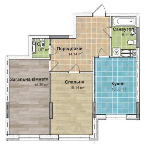 Секция 2 двухкомнатная квартира (2Б) 67,80 м²