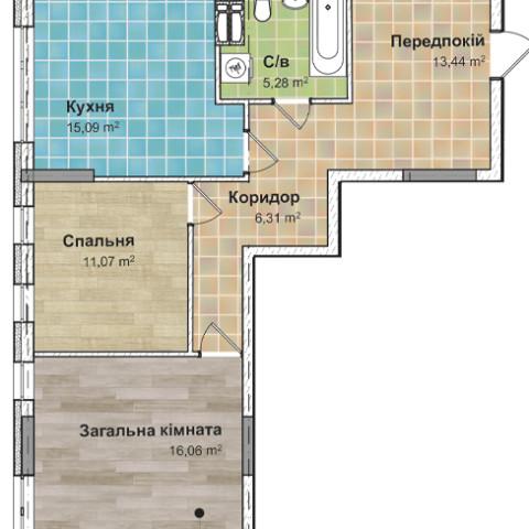 Секция 2 двухкомнатная квартира (2В) 66,84 м²