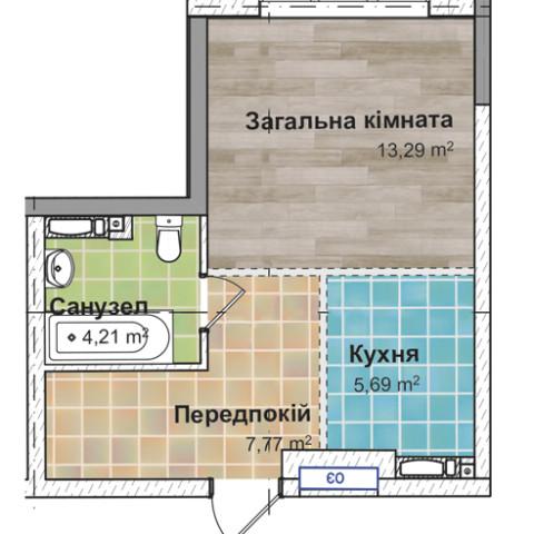 Секция 3 Однокомнатная квартира (1А) 31,95 м²