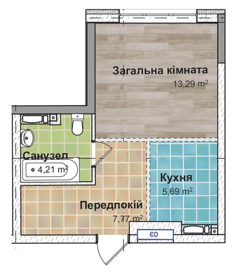 Секція 3 Однокімнатна квартира (1А) 31, 95 м²