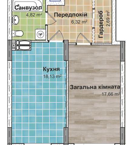 Секция 3 Однокомнатная квартира (1Б) 49,55 м²