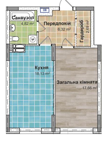 Секція 3 Однокімнатна квартира (1Б) 49,55 м²