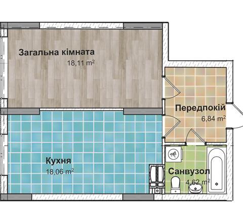 Секция 3 Однокомнатная квартира (1Д) 48,06 м²