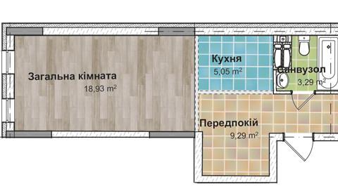 Секция 3 Однокомнатная квартира (1Е), 36,22 м²