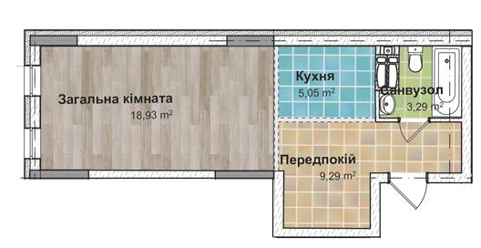 Секція 3 Однокімнатна квартира (1Е) 36,22 м²