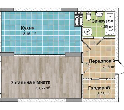 Секция 3 Однокомнатная квартира (1Г) 51,29 м²