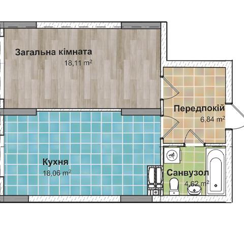 Секция 3 Однокомнатная квартира (1В) 50,97 м²