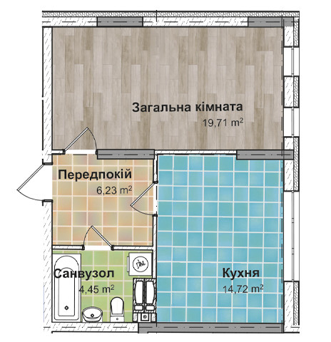 Секция 3 Однокомнатная квартира (1Ж) 45,29 м²