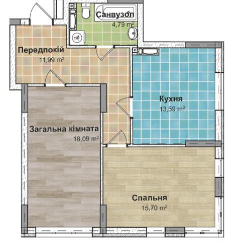 Секция 3 двухкомнатная квартира (2Б) 63,70 м²