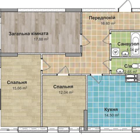 Секция 3 трехкомнатная квартира (3А) 83,12 м²