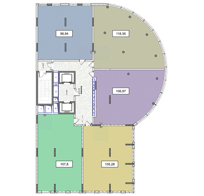 3-9 поверхи офіс 118,36 м.кв.