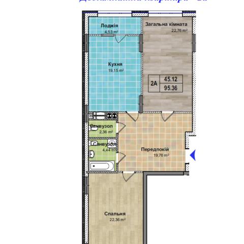 Секция 2 двухкомнатная квартира 2а 95,36 м²
