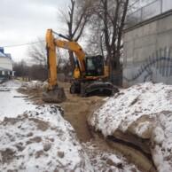 <p>29 лютого 2016 р. Прокладання мереж водопостачання та каналізації.</p>