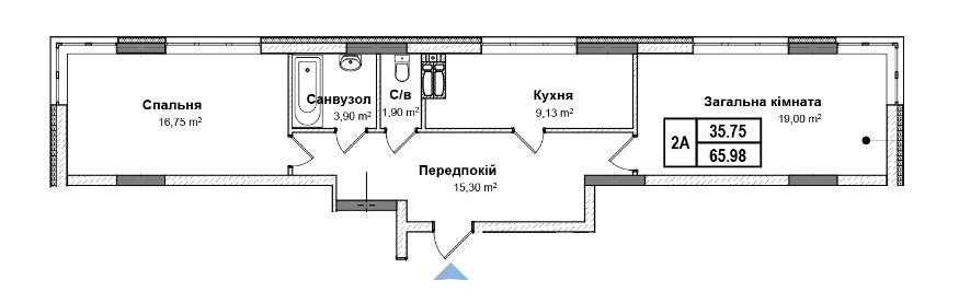 Секція 5 двокімнатна квартира 2a 65,98 м²