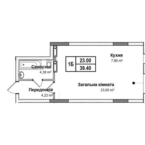 Секція 5 однокімнатна квартира 1б 39,40 м²