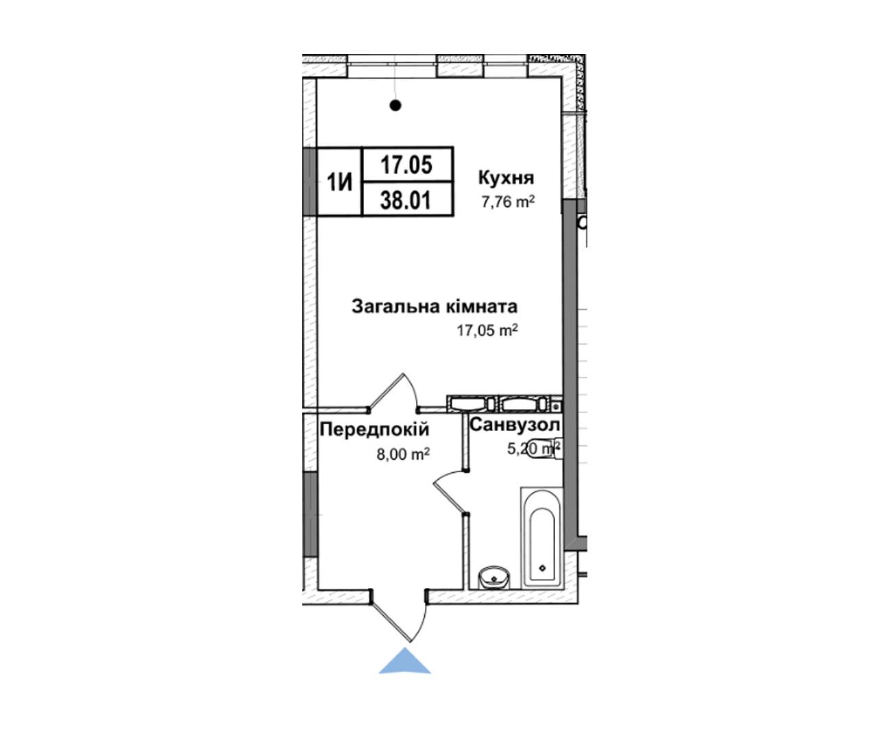 Секція 5 однокімнатна квартира 1и 38,01 м²