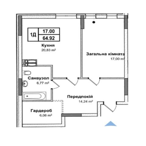 Секція 5 однокімнатна квартира 1д 64,92 м²
