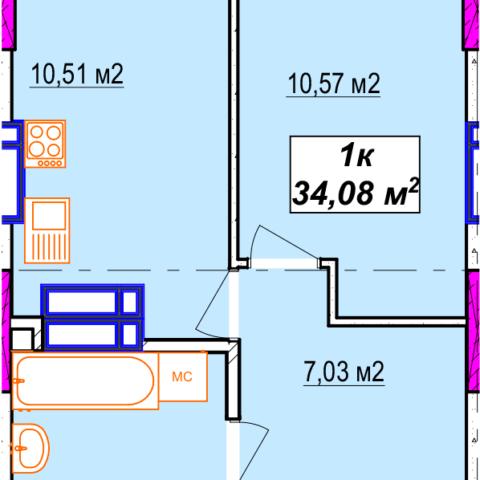 Секція A однокімнатна квартира 34,08 м²